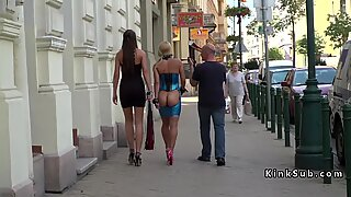 Naked butt blonde embarrassed in public