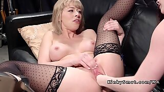 Blonde fisted and anal banged in lezdom